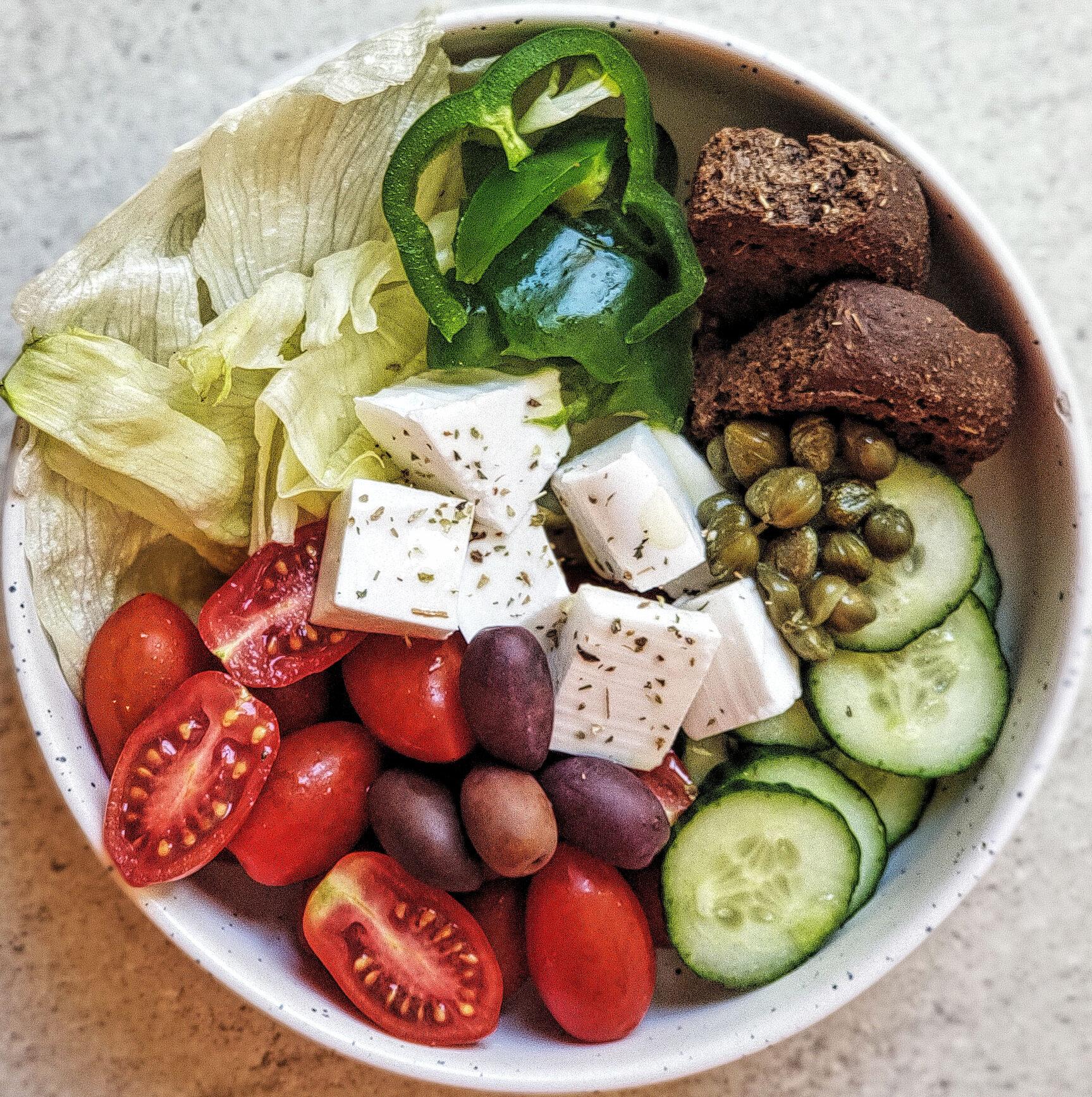 Greek Salad with Carob Rusks
